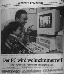 Computerseite in Zeitung