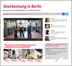 Screenshot Website Anerkennung Berlin