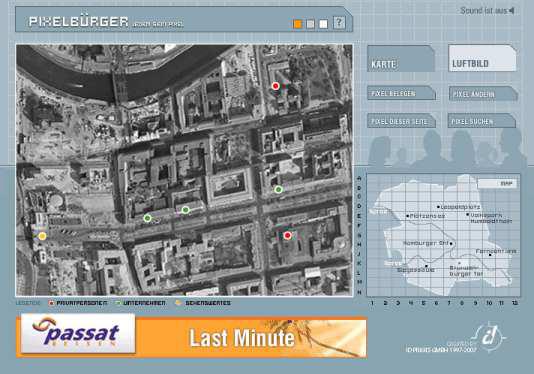Screenshot Website Pixelbürger mit Karte