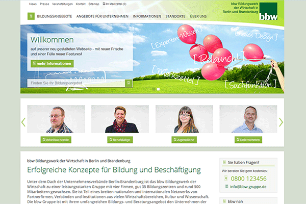 Screenshot Website bbw-gruppe.de