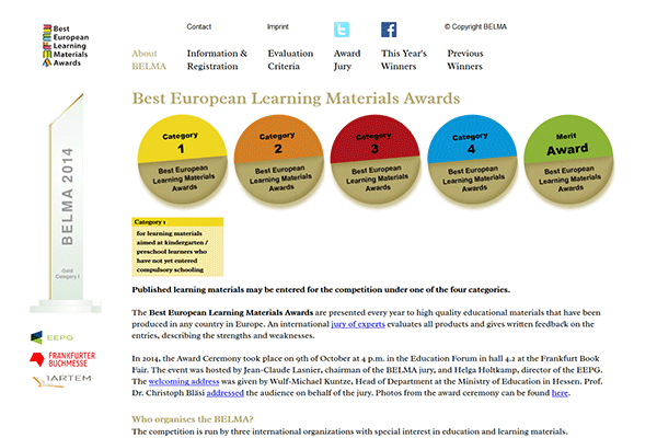 Screenshot Website Belma-award.eu