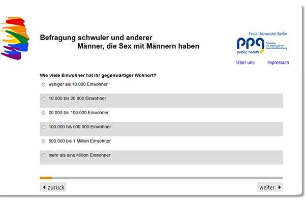 Screenshot Website FU Online Umfragebogen